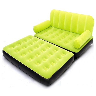 Velvet 5 in 1 Sofa Air Bed Couch Green Colour