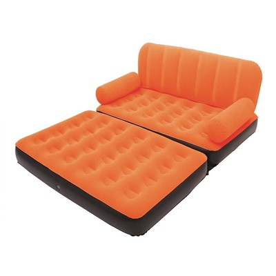 Velvet 5 in 1 Sofa Air Bed Couch Orange Colour